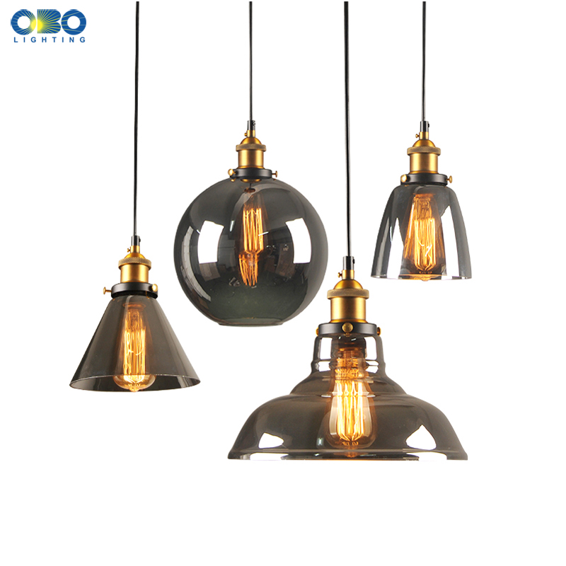 Vintage Pendant Lamp Smoke Gray Glass Lampshade Cord 1-1.5m Wire Coffee Shop Inrood Lighting LED Pendant Light E27 Bulb 110-240V