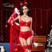 Varsbaby sexy lace Navidad big red 5 uds bras + panties + medias + diadema de astas + conjunto de sujetador y bragas