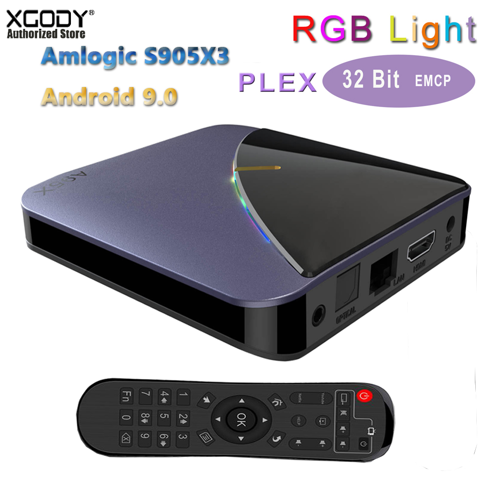 XGODY Support PLEX RGB Light Smart Tv Box Amlogic Amlogic S905X3 A95X F3 Android 9.0 4k Tv Set Top Box 4gb Ram Dual Wifi BT4.2