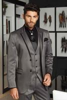 Latest Coat Pant Designs Smoking Grey Satin Men Suit Slim Fit 3 Piece Groom Tuxedo Custom Suits Prom Blazer Terno Masculino