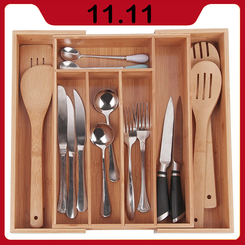 Bamboo Expandable Drawer Organizer Premium Cutlery And Utensil Spoon Cutlery Separation Oganizer Kitchen Drawer Divider Tray