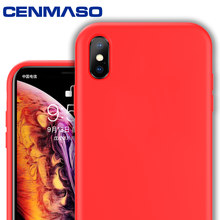 CENMASO For iphone XR case Original Soft Silicone Soft Anti Fall Thermal Cover For iphone X XR XS MAX 7 8 Plus case phone Case(China)