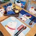 30*40 centímetros Estilo Japonês Sorte Gato Dos Desenhos Animados Louça Pad Cotton Linen Praça Esteira de Tabela de Isolamento Anti-quente placemat à prova d' água