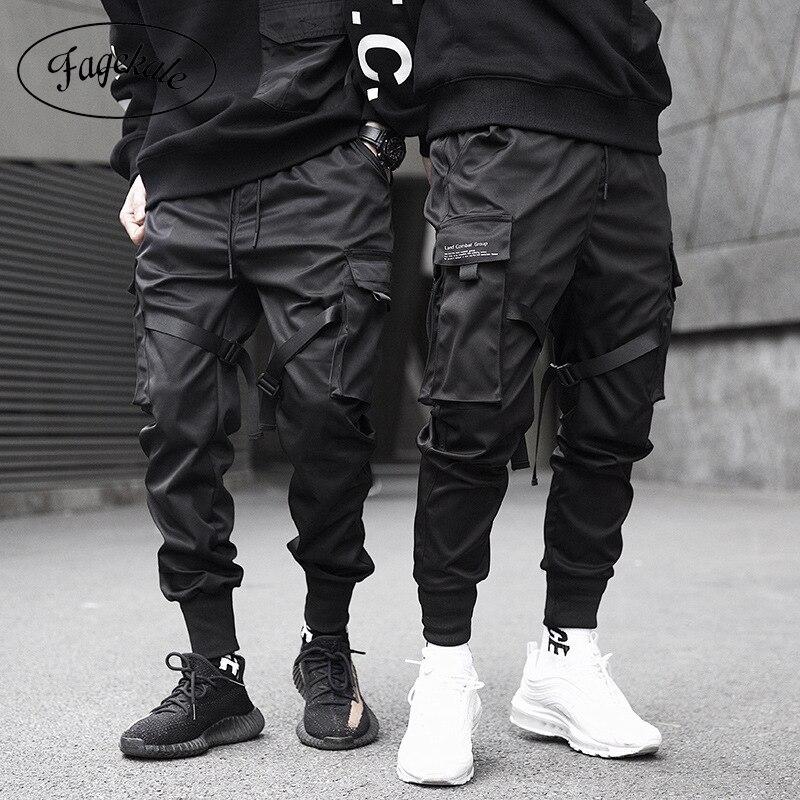 Şeritler kargo pantolon erkekler Casual Streetwear Harajuku pantolon Hip Hop moda rahat gençlik ince pantolon şık erkek Jogger pantolon