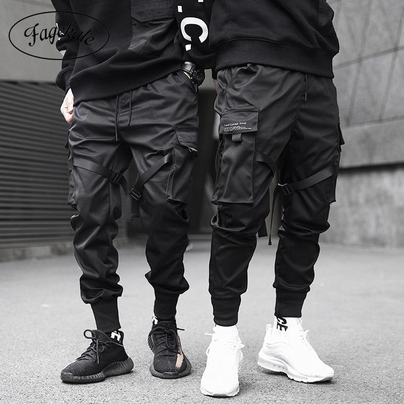 리본 카고 바지 남성 캐주얼 streetwear 하라주쿠 바지 힙합 유행 캐주얼 청소년 슬림 팬츠 세련된 남성 조깅 바지
