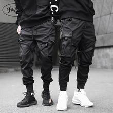 Ribbons Cargo Pants Men Casual Streetwear Harajuk
