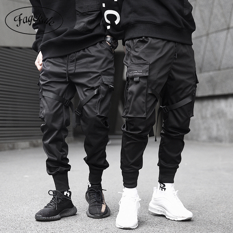 Rubans Cargo pantalon hommes décontracté Streetwear Harajuku pantalon Hip Hop à la mode décontracté jeunesse mince pantalon stylé hommes survêtement pantalon