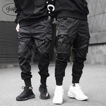 Wstążki Cargo spodnie męskie spodnie casualowe w stylu streetwear spodnie harajuku Hip Hop Trendy casual młodzieżowe obcisłe spodnie stylowe męskie spodnie do joggingu tanie i dobre opinie FAGEKALE Cargo pants Mikrofibra COTTON Midweight 27 6 - 40 9 Pełnej długości Ruched Flanelowe Luźne W stylu Safari Mieszkanie