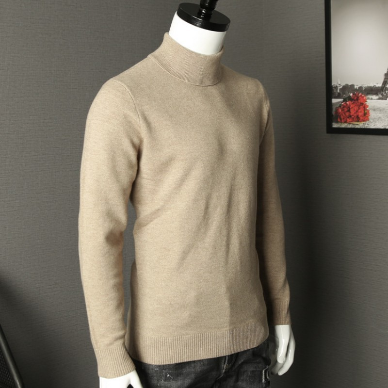 Classic Mens Solid Color Turtleneck Sweater Office Work Man Slim Fit Knitwear Top High Quality 100% Wool Pullover Sueter Hombre
