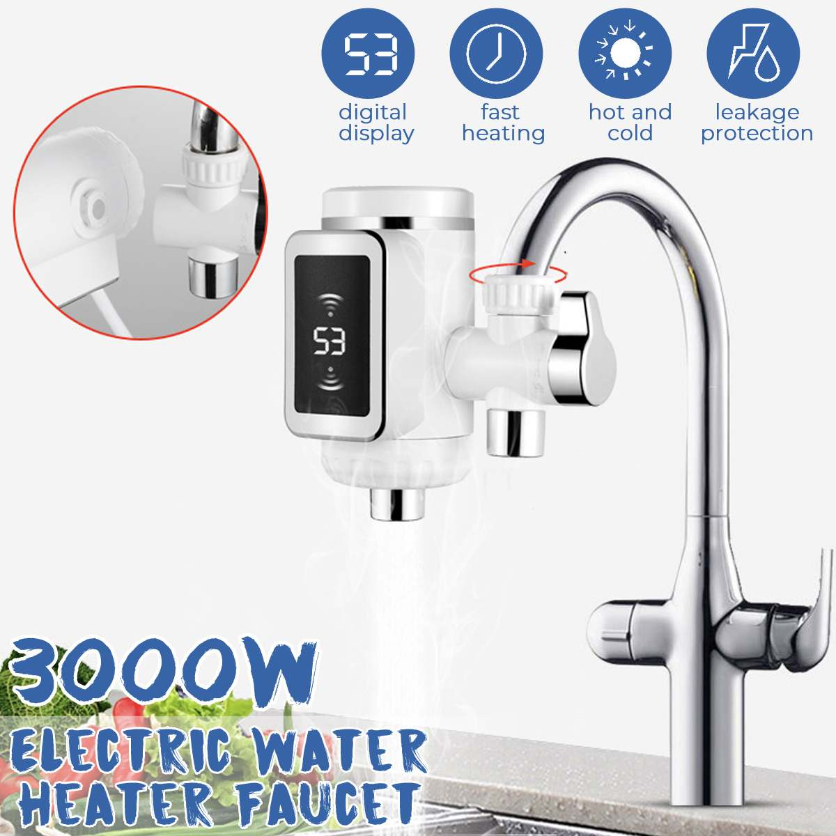 3000W Tankless Water Heater LED Display Electric Kitchen Water Heating Tap Instant Hot Water Faucet Heating EU Pulg 220V