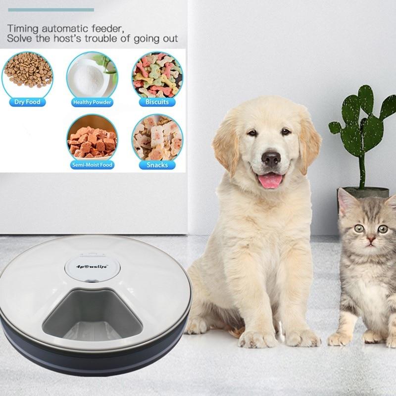 Alimentador de distribuição redonda alimentador automático para animais de estimação 6 refeições 6 grades gato cão elétrico dispensador de alimentos secos 24 horas alimentação para animais de estimação suprimentos 40% de desconto 6
