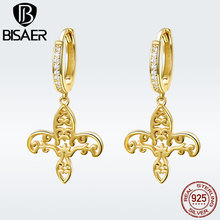 BISAER 925 Sterling Silver Lily Iris Flower Clear CZ Gold Color Drop Earrings for Women Cross Fashion Jewelry Brincos GXE535