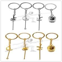 12 Pcs New Creative sports keyring fencing keychain sword keyring Fencing Club Keychains sword fencing keychain Helmet keychain