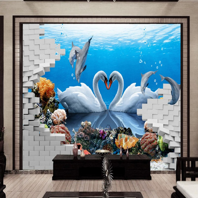 Dropship Photo Wallpaper HD Wallpaper Stereo 3D Swan Dolphin Love TV Wall Living Room Mural Custom Lobby 3d Wall Murals