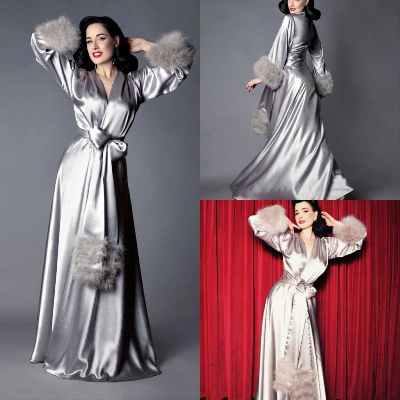 Elegant Silk Floor Length Night Robe With Feathers Top Quality Custom Made Party Sleepwear 2020 Bridal Nightgown Robes