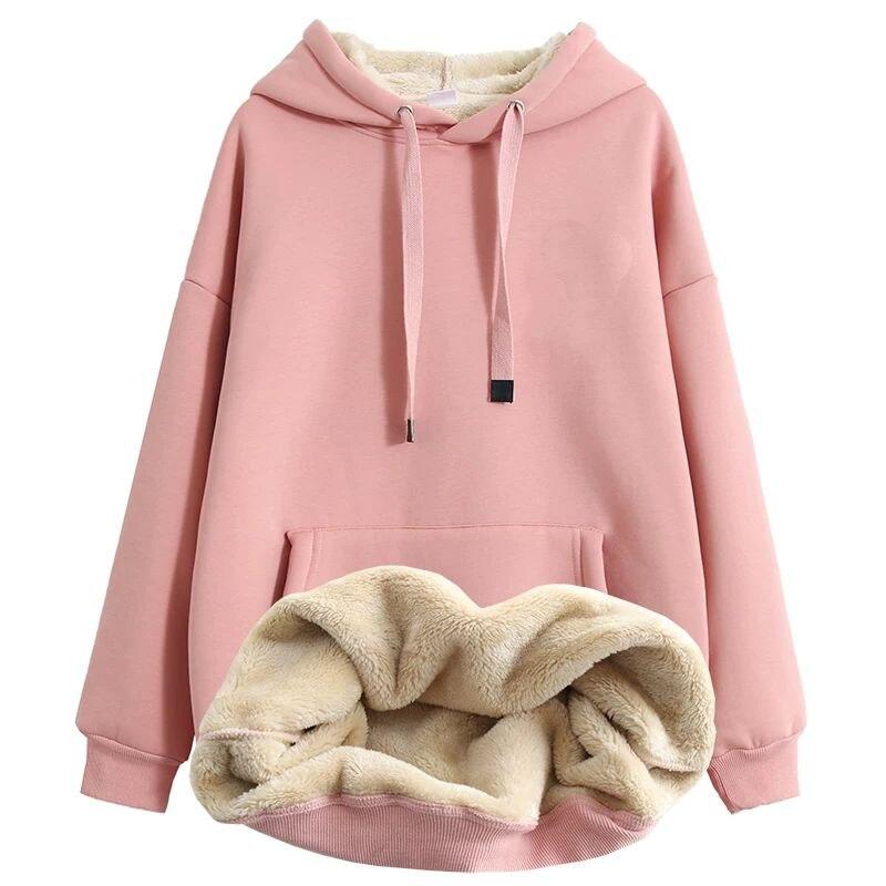 EACHIN Women Fashion Hoodies Long Sleeve Warm Sportswear Coat  Female Casual Solid Big Pocket  Hooded Tops Tracksuit Sweatshirt