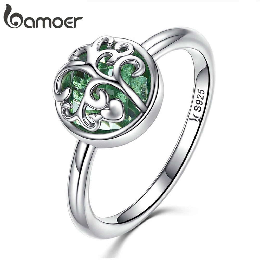 BAMOER Real 925 Sterling Silver Tree Of Life Finger Ring Crystal Leaf Rings For Women Sterling Silver Fine Jewelry S925 SCR053
