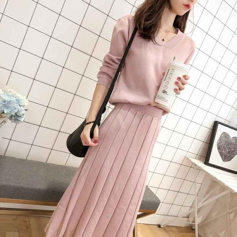 Vrouwen Trui Rok Twee Stuk Vrouwelijke 2020 Herfst En Winter Nieuwe Koreaanse Mode Gebreide Pak Trui En Rok Warm solid V-hals