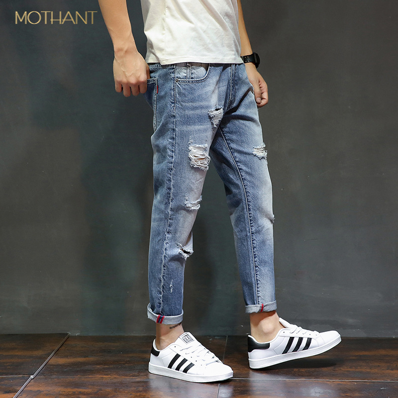 Tide Brand Broken Hole Nine Points Jeans Male Youth Self-cultivation Feet Loose Japanese Harem Pants Male Skinny Jeans Men