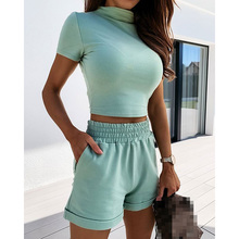 Women Summer Tracksuit Sexy Solid Short Sleeve Crop Tops And