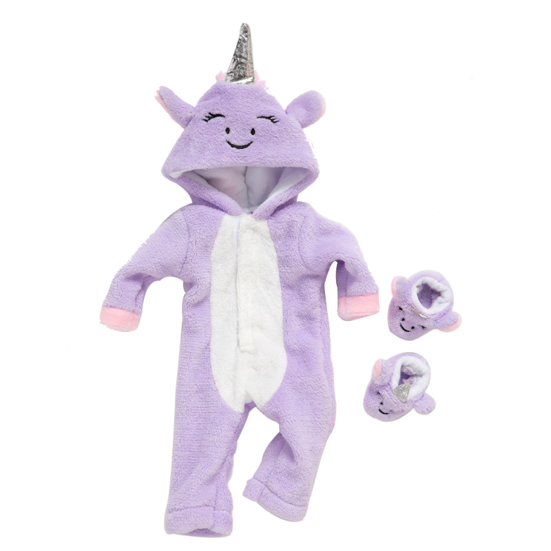 Baby New Born Fit 17 inch 43cm Doll Clothes Accessories Red Purple Blue Unicorn Suit For