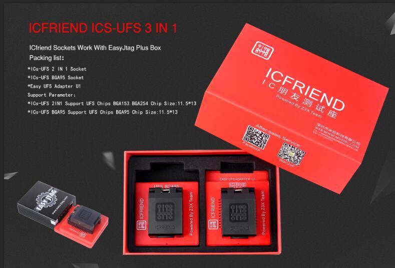original UFS adapters socket ICFriend ICs-UFS 3 IN 1 support UFS BGA254 BGA153 BGA95 with EASY JTAG PLUS box work(China)