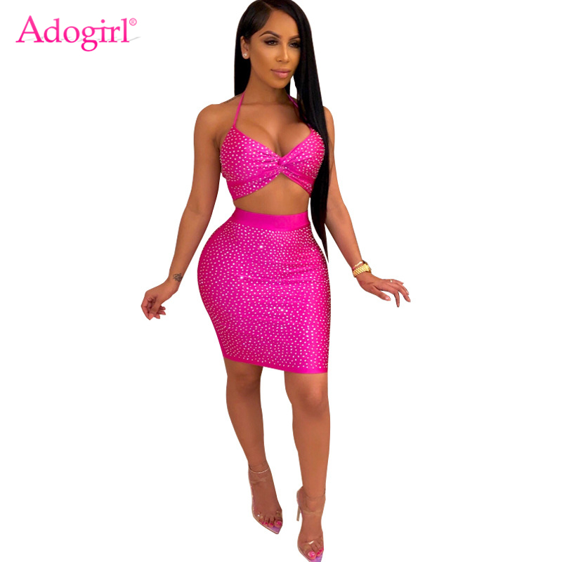 Adogirl Diamonds Women Sexy Two Piece Set Dress Halter Bra Top High Waist Mini Bodycon Skirt Night Club Party Dresses Outfits