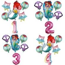 6pcs 인어 공주 아리엘 만화 디즈니 공주 호일 풍선 32Inch 번호 아기 소녀 핑크 에어 Baloes 생일 파티 장식 어린이 완구