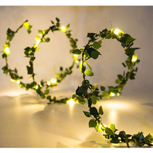 2M 20 LEDs Fairy String Lights green Leaf Garland Copper Lamp for Christmas Wedding Party Garden Decoration Battery Powered