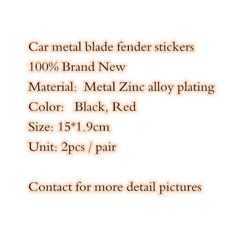 【Hot】 2pcs/paire voiture style 15cm * 1.9cm noir rouge en alliage de Zinc placage TRD S ligne lame emblème arrière queue Badge autocollants Logos latéraux