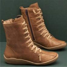 Women Autumn Vintage Zipper Lace Up Ankle Boots Ladies Retro Leather Sh
