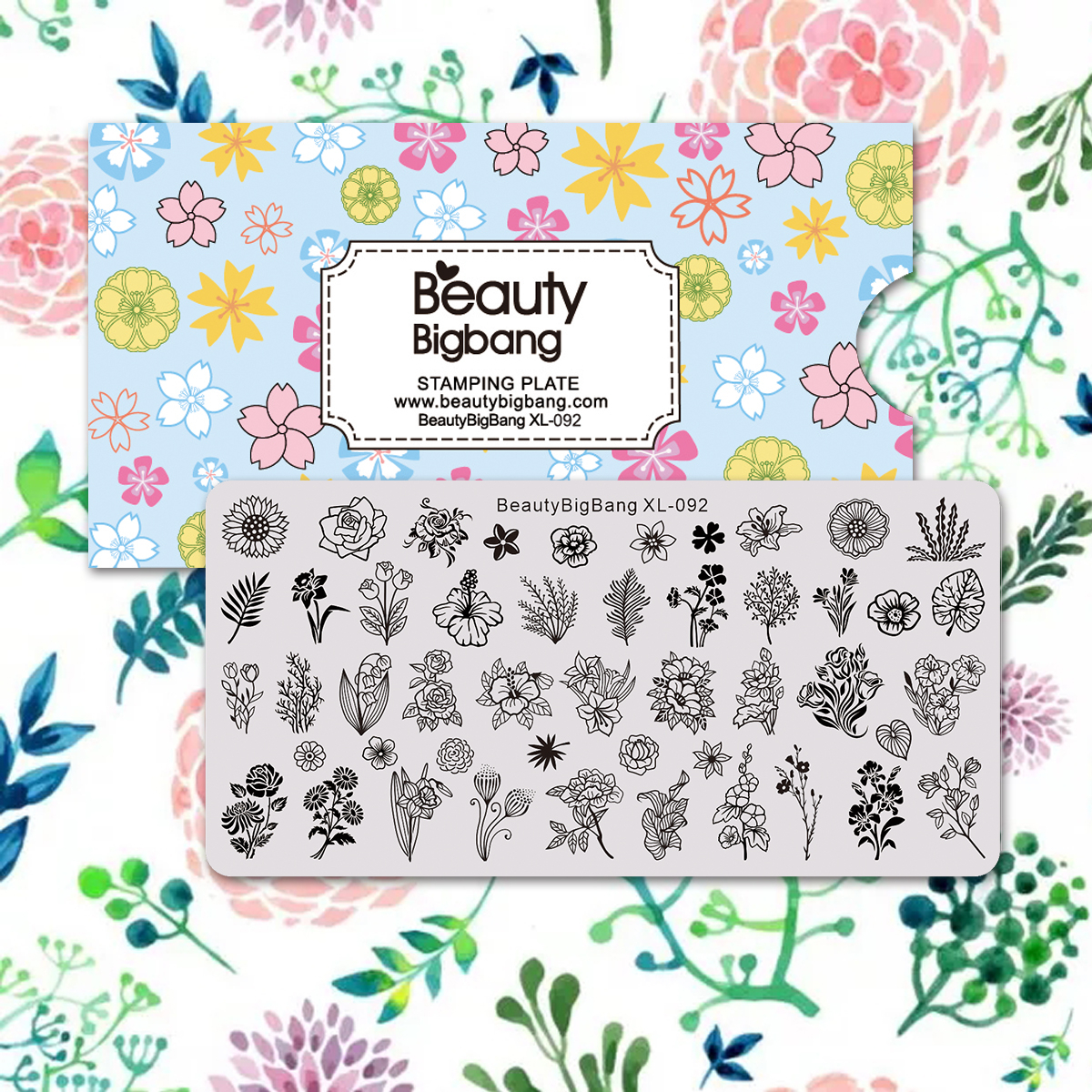 BeautyBigBang Nail Stamping Plates Flower Grass Leaf Mold Nail Template For Nails Design Stamp Nail Art Image Stamping Template
