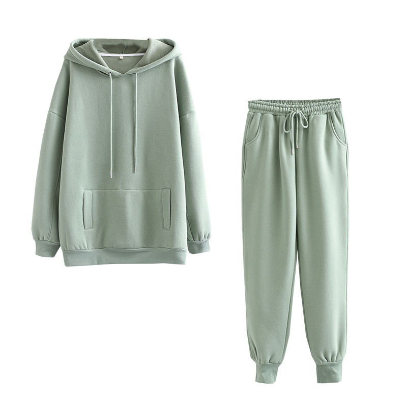 Tangada 2020 Autumn Winter Women thick fleece 100% cotton suit 2 pieces sets hoodies sweatshirt and pants suits 6L17 1