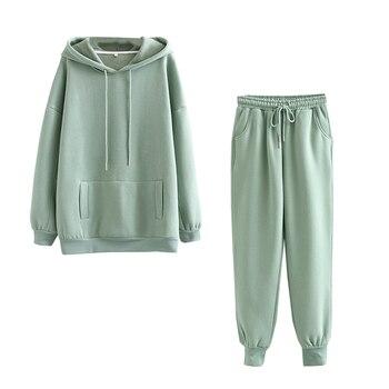 Tangada 2020 Autumn Winter Women thick fleece 100% cotton suit 2 pieces sets hoodies sweatshirt and pants suits 6L17