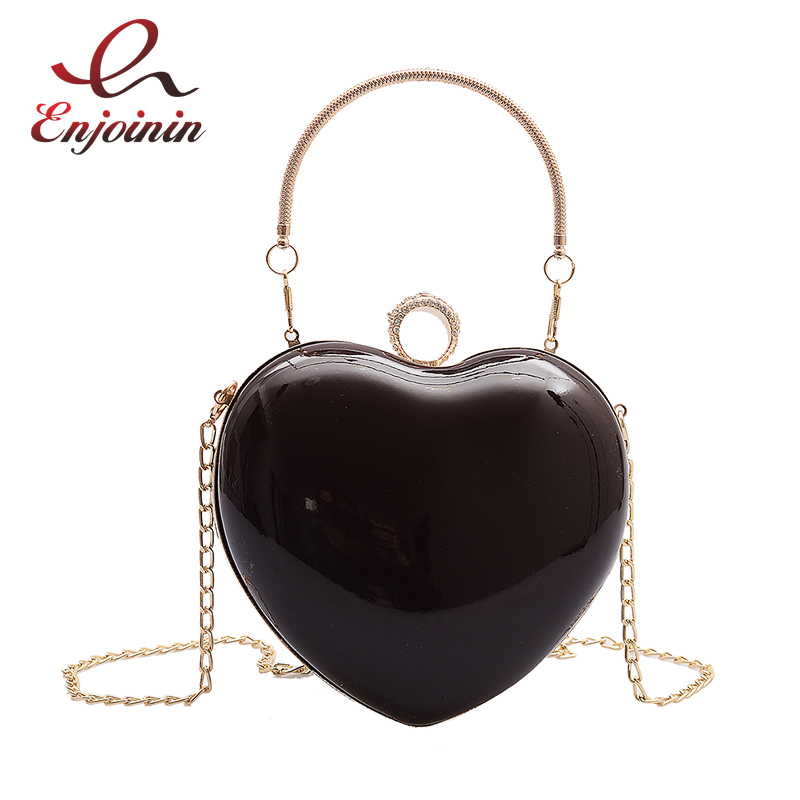 New Patent Leather Fashion Heart Design Women Party Clutch Bag Evening Bag Purses And Handbags Shoulder Bag Crossbody Bag Bolsa