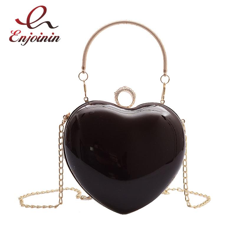 New Patent Leather Fashion Heart Design Women Party Clutch Bag Evening Bag Purses And Handbags Shoulder Bag Crossbody Bag Bolsa