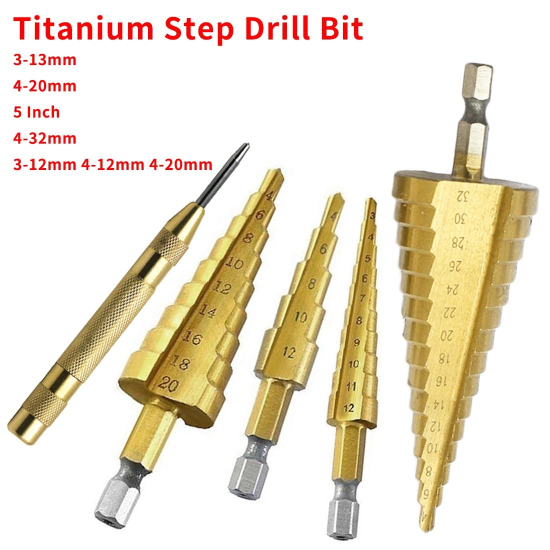 Broca de titanio de paso de acero HSS 3-12mm 4-12mm 4-20mm Juego de brocas de Metal para madera