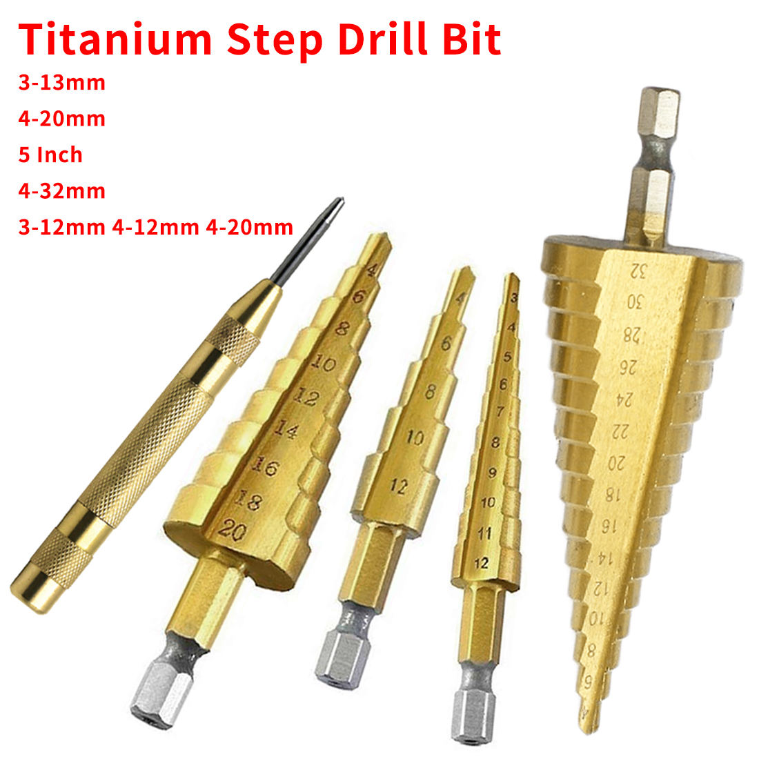 HSS Steel Titanium Step Drill Bit 3-12mm 4-12mm 4-20mm Step Cone Cutt Tools Metal Drill Bit Set For Woodworking Wood