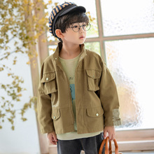 Autumn Windbreaker Jacket for Boy 2019 Fashion Army Green Bomber Jacket Boy's Coat with Pocket Jacket Kids Child Coat 3-8 Years недорого