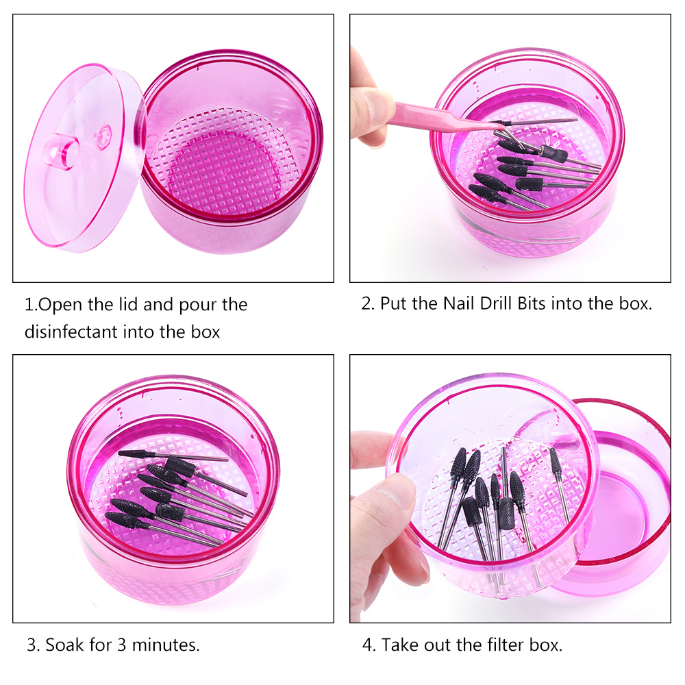 1pcs Nail Sterilizer Disinfection Storage Box Nail Drill Bits Cleaning Tool Accessories Acrylic Manicure Clean Nail Tools in Nail Art Equipment from Beauty Health
