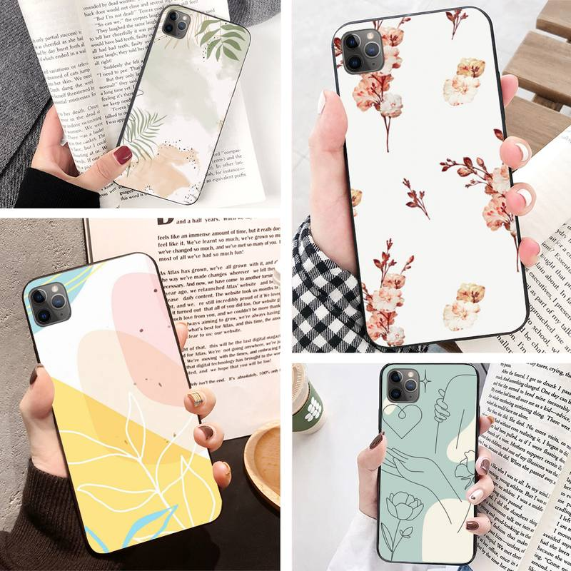 Minimalism Stule Lovely Floral Wallpaper Phone Case For Iphone 11 Pro 5 6 7 8 11 Pro Max Xr Xs Plus Phone Accessories Half Wrapped Cases Aliexpress