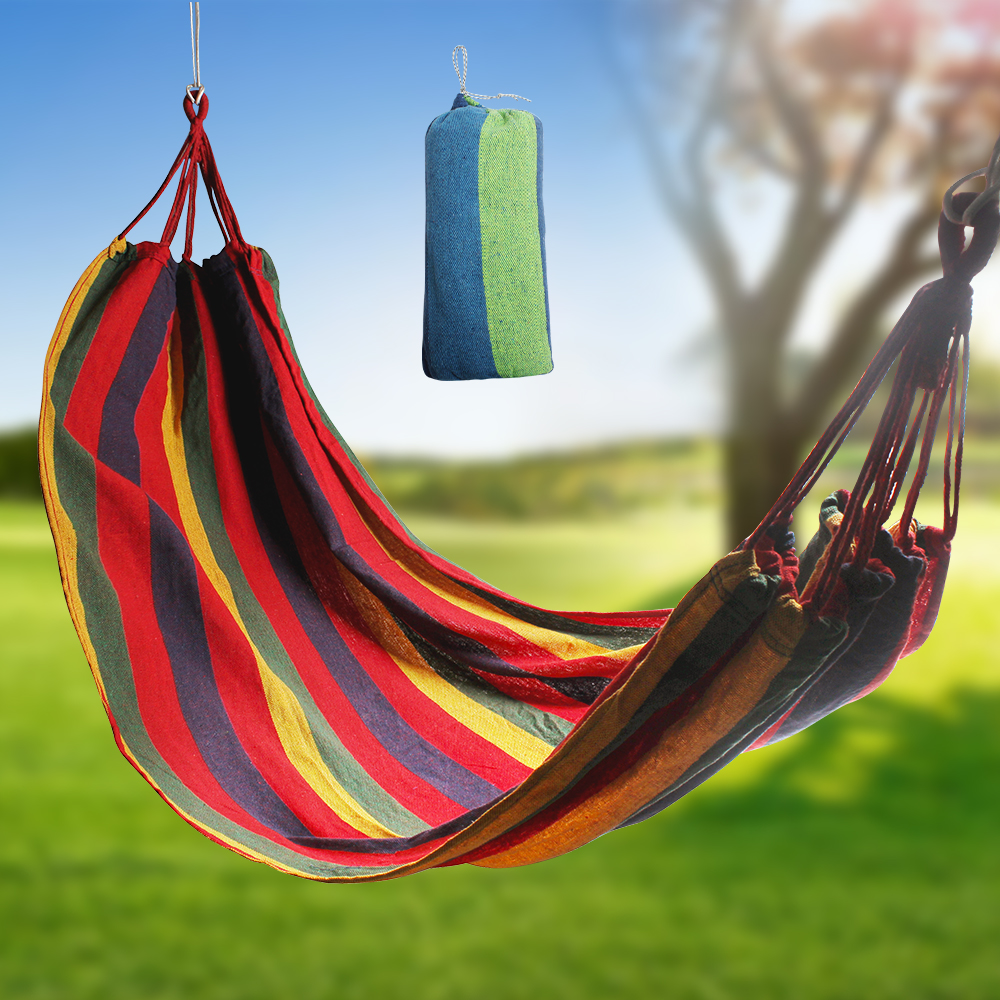 Thickened Canvas Hammock Portable Outdoor Camping Leisure Bed Garden Furniture Hanging Chair Sleeping Swing Hangmat With Bag