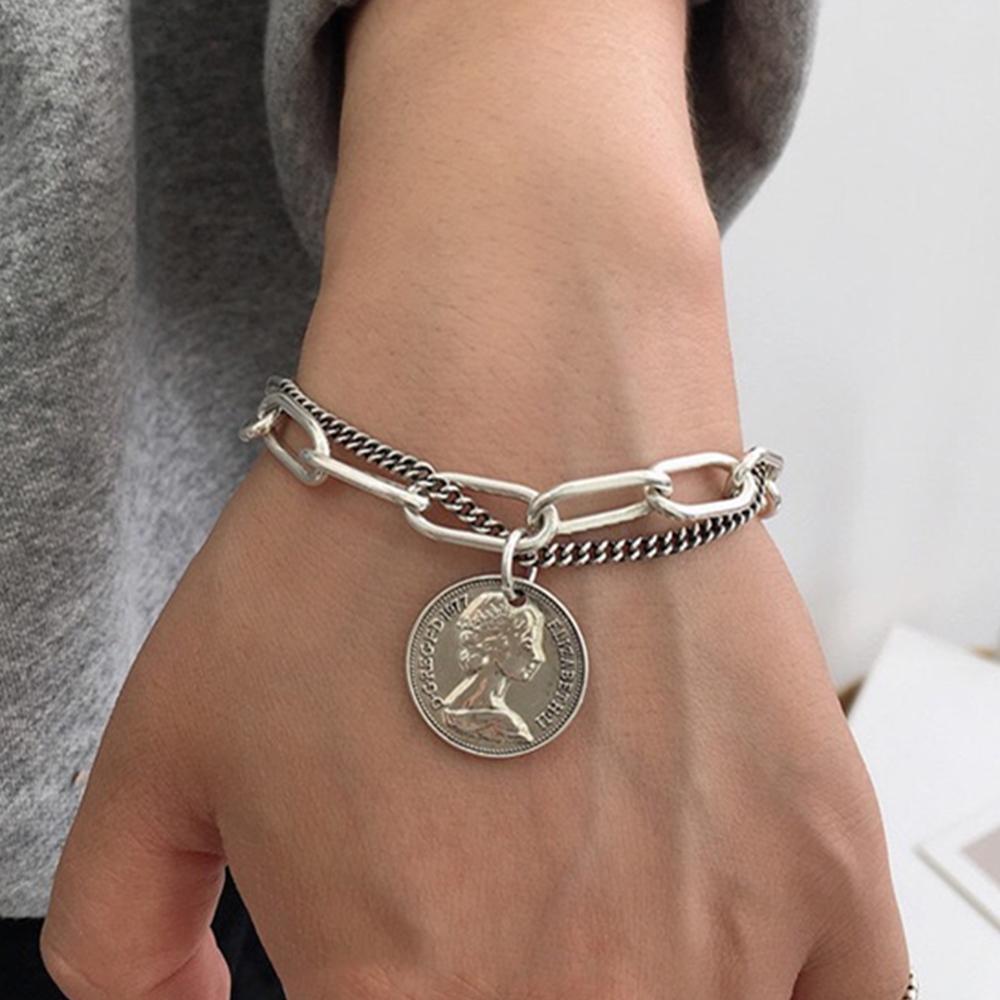 Punk Hip Hop Portrait Coin Bracelet Bohemian Retro Multilayer Chain Geometric Coin Pendant Bracelet Fashion Female Jewelry