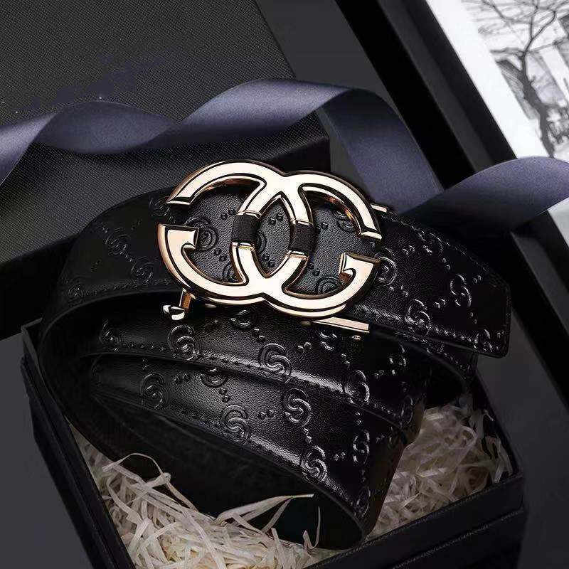 Leather Mens belt Genuine  Luxury Brand Designer Leather Strap Automatic Buckle Fashion Belt Gold #19535-37P