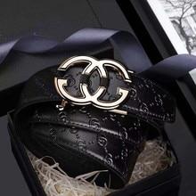 جلد حزام رجالي العلامة التجارية الفاخرة حقيقية مصمم حزام من الجلد التلقائي مشبك حزام الموضة الذهب #19535 37P