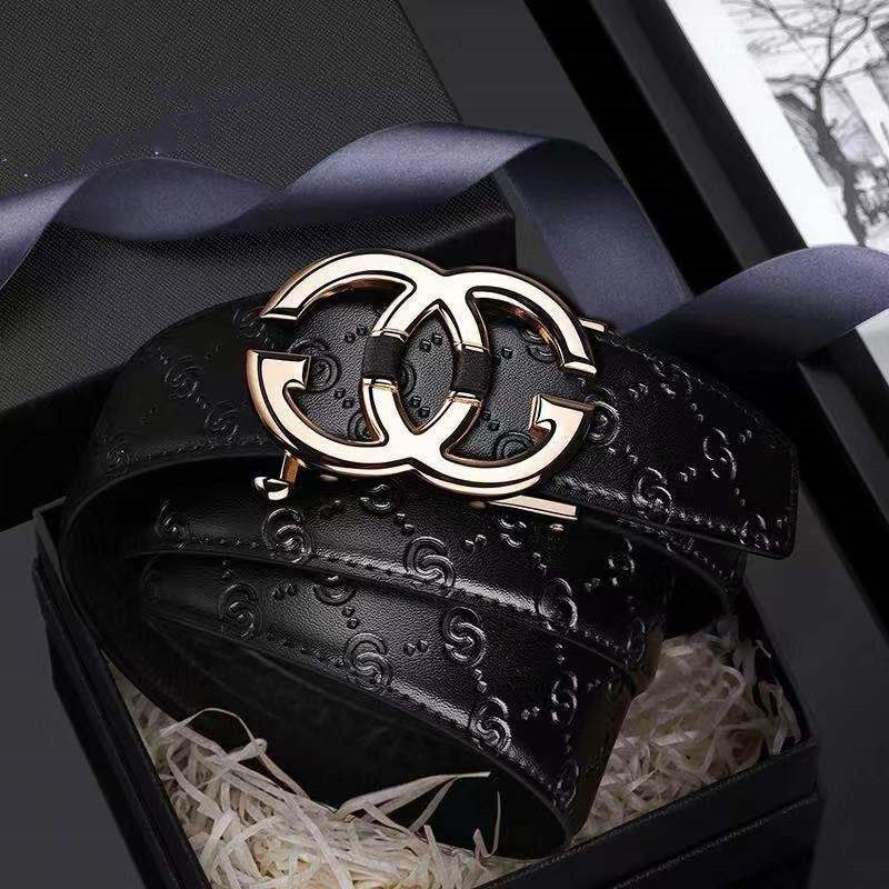 Fashion Belt Leather-Strap Automatic Buckle Gold Designer Genuine Luxury Brand Men -19535-37p title=