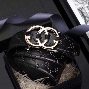Leather Mens belt Genuine  Luxury Brand Designer Leather Strap Automatic Buckle Fashion Belt Gold #19535-37P