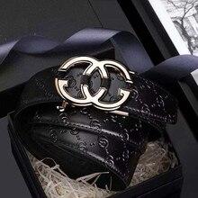 Leder Herren gürtel Aus Echtem Luxus Marke Designer Leder Gurt Automatische Schnalle Mode Gürtel Gold #19535 37P