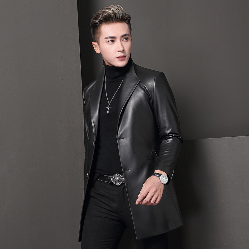 Genuine Leather Jacket Spring Autumn Jacket Men Real Sheepskin Coat For Men Blazers Trench Coats T-68-8009 MY2048