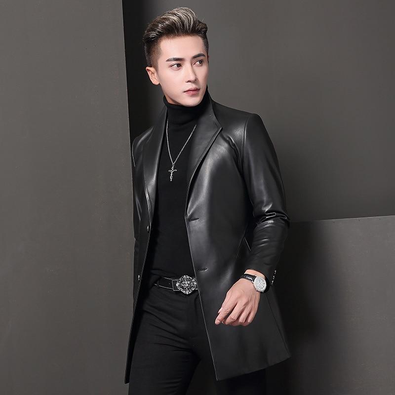 Genuine Leather Jacket Spring Autumn Jacket Men Real Sheepskin Coat For Men Blazers Trench Coats T-68-8009 MY2048